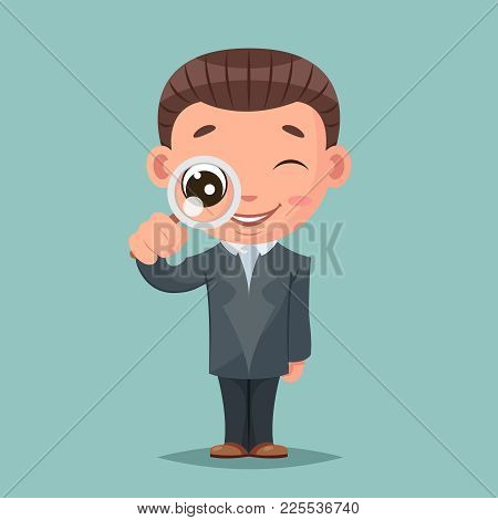 Search Magnifying Glass Cute Businessman Mascot Happy Support Approval Characters Cartoon Set Design