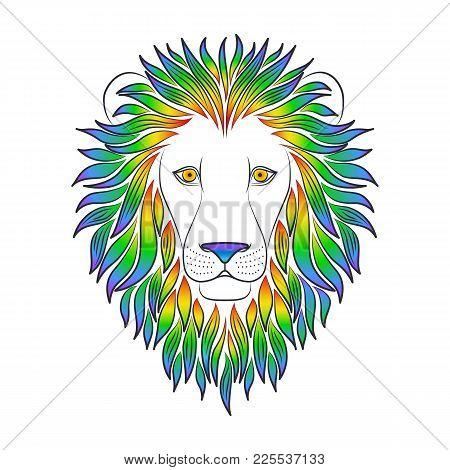 Isolated Black Outline Head Of Lion With Iridescent Mane On White Background. Rainbow Line Cartoon K
