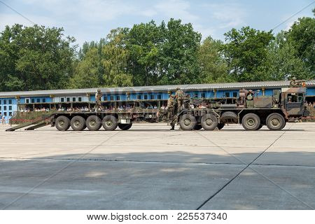 Burg / Germany - June 25, 2016: German Slt 50 Elefant Heavy Duty Tractor Unit And Tank Transporter A
