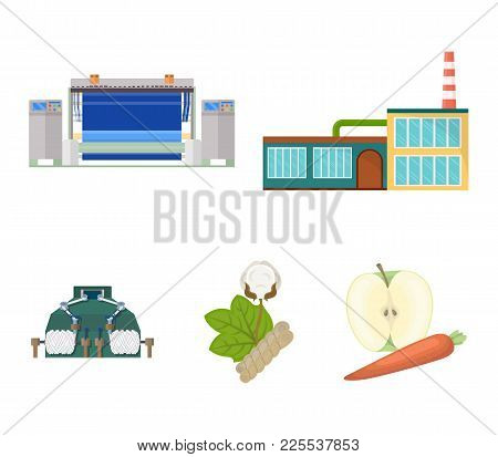 Factory, Enterprise, Buildings And Other  Icon In Cartoon Style. Textile, Industry, Fabric Icons In
