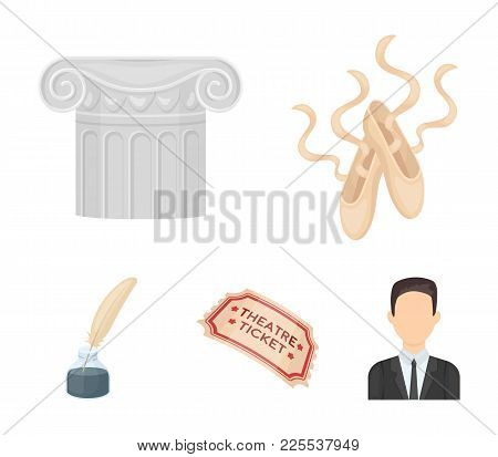 Pointe Shoes, Column, Theater Ticket, Inkwell With Feather. Theater Set Collection Icons In Cartoon