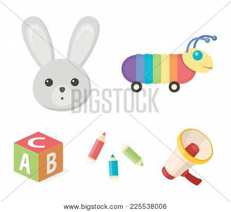 Children's Toy Cartoon Icons In Set Collection For Design. Game And Bauble Vector Symbol Stock Web I