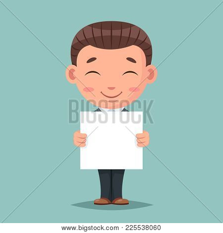 Smiling Blank Paper Promotion Advert Stick Cute Businessman Mascot Happy Support Approval Characters