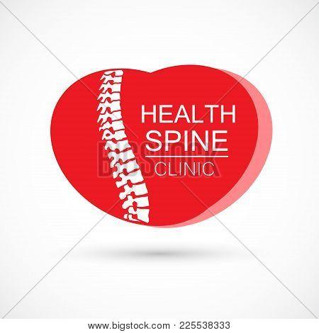 Spine Heart Logo Clinic Medicine Chiropractic Backbone Health Illustration