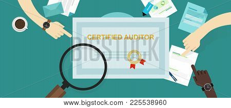 Certified Auditor In Internal Financial Certification And Information Technology Company Hand Workin