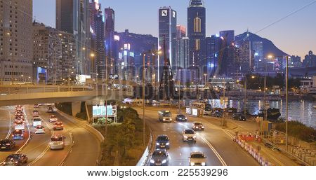 Causeway Bay, Hong Kong, 14 January 2018:- Hong Kong traffic night
