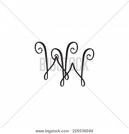 Handwritten Monogram Ww Icon, Logo With Swirls Isolated On White Background