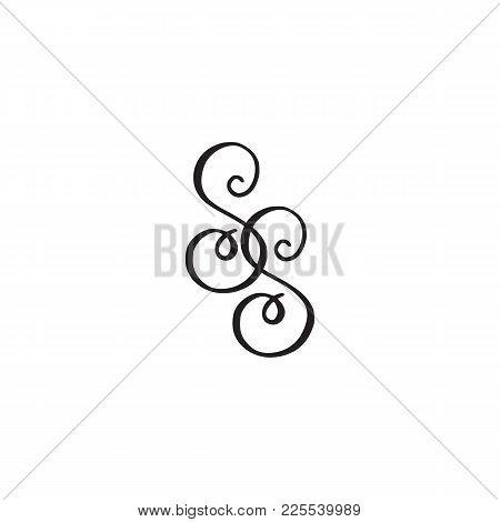 Handwritten Monogram Ss Icon, Logo With Swirls Isolated On White Background