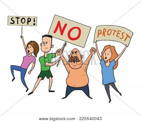 Protesting People. A Group Of Young Men And Women With Posters At A Rally Or Protest Action. Vector