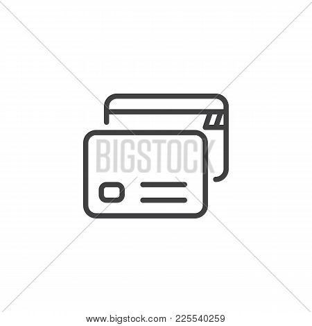 Credit Cards Line Icon, Outline Vector Sign, Linear Style Pictogram Isolated On White. Payment Metho