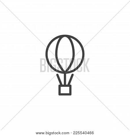 Air Balloon With The Parcel Box Line Icon, Outline Vector Sign, Linear Style Pictogram Isolated On W