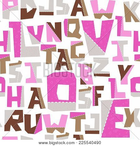 Hand Lubberly Cut Vector Pink Applique Alphabet Seamless Pattern. Good For School Projects, Posters,