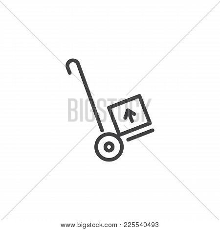 Hand Trolley, Handcart Line Icon, Outline Vector Sign, Linear Style Pictogram Isolated On White. Del
