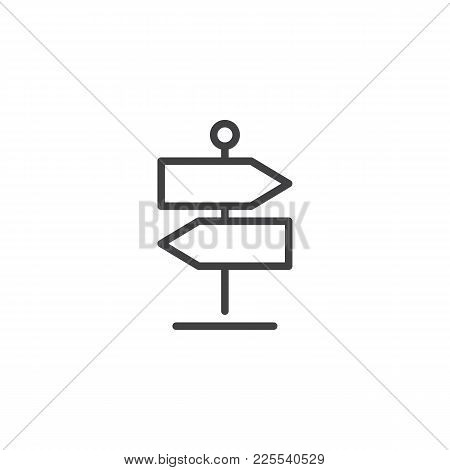 Signpost Line Icon, Outline Vector Sign, Linear Style Pictogram Isolated On White. Direction Pointer