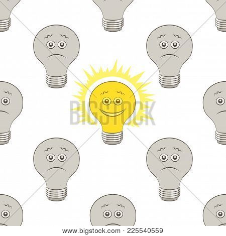 Seamless Pattern, Cartoon Light Electric Bulbs, Glowing And Dark, Smiling And Sad Isolated On Tile W