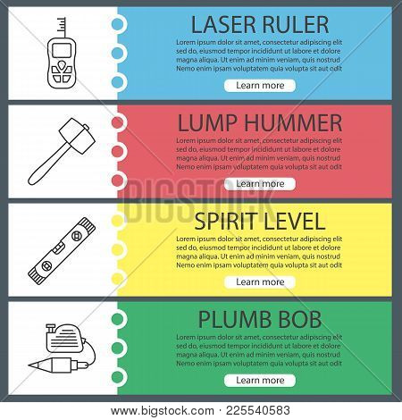 Construction Tools Web Banner Templates Set. Laser Ruler, Lump Hammer, Spirit Level, Plumb Bob. Webs