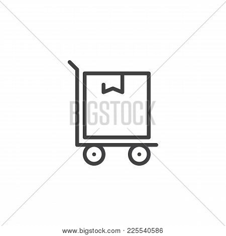 Hand Truck With Cardboard Box Line Icon, Outline Vector Sign, Linear Style Pictogram Isolated On Whi