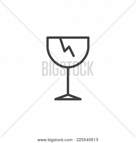 Fragile Line Icon, Outline Vector Sign, Linear Style Pictogram Isolated On White. Broken Glass Symbo