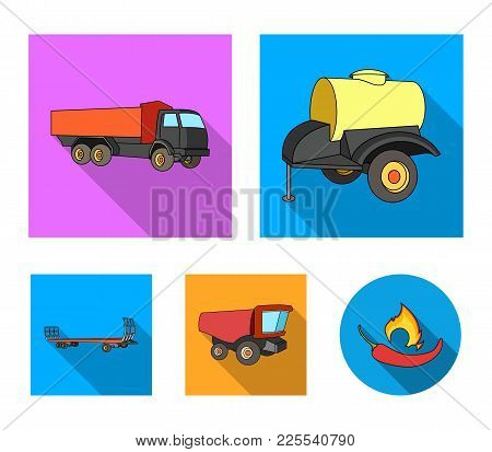 Trailer With A Barrel, Truck And Other Agricultural Devices. Agricultural Machinery Set Collection I