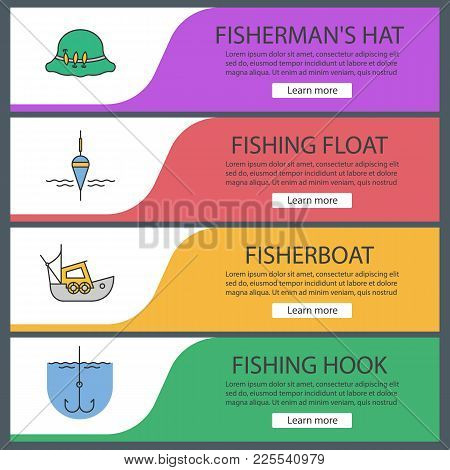 Fishing Web Banner Templates Set. Fishing Float, Fisherman Hat, Boat, Fishhook. Website Color Menu I