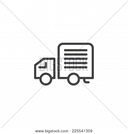 Delivery Truck Line Icon, Outline Vector Sign, Linear Style Pictogram Isolated On White. Lorry Van S