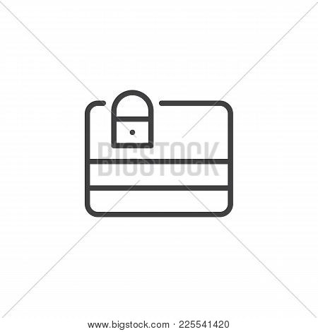 Credit Card Protection Line Icon, Outline Vector Sign, Linear Style Pictogram Isolated On White. Deb