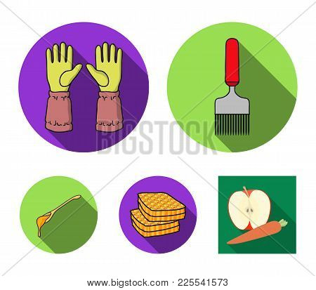 A Spoon Of Honey, Protective Gloves, A Barrel Of Honey, A Fork.apiary Set Collection Icons In Flat S