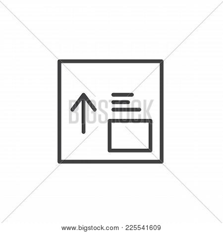 Package Box With Side Up Handling Label Line Icon, Outline Vector Sign, Linear Style Pictogram Isola