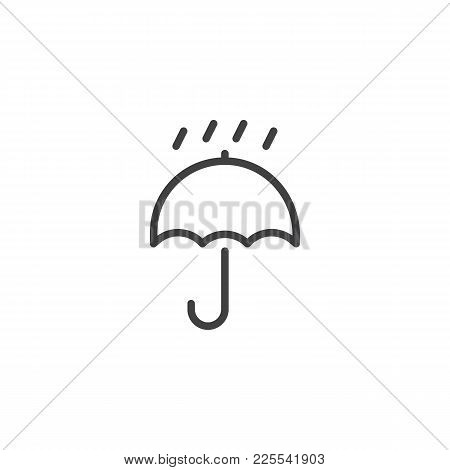 Packaging Sign Keep Dry With Umbrella And Drops Line Icon, Outline Vector Sign, Linear Style Pictogr