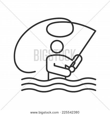Fly Fishing Linear Icon. Thin Line Illustration. Fisherman. Man With Fishing Rod. Contour Symbol. Ve