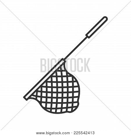 Scoop Net Linear Icon. Thin Line Illustration. Fishing Gear. Hoop Net. Contour Symbol. Vector Isolat