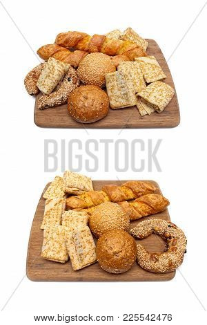 Baked Goods On White Background. Vertical Photo.