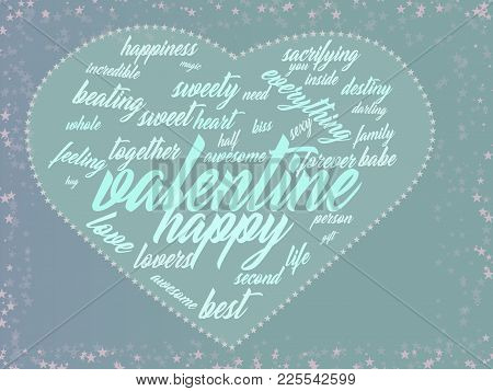 Valentine Day Card With A Touching The Soul Word Cloud Creating A Heart Symbol.
