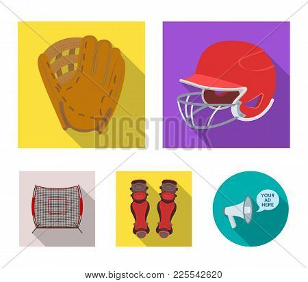 Helmet Protective, Knee Pads And Other Accessories. Baseball Set Collection Icons In Flat Style Vect