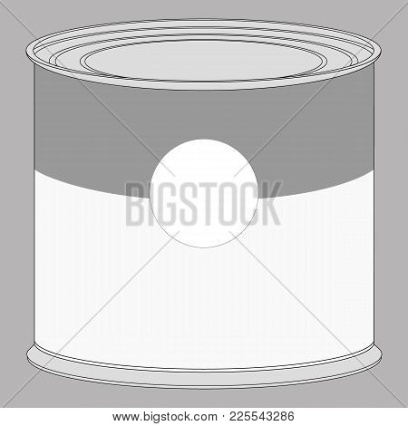 Realistic Blank Tin For Canned Food, Preserve. Mock Up To Advertise Goods. Packaging Template. Vecto