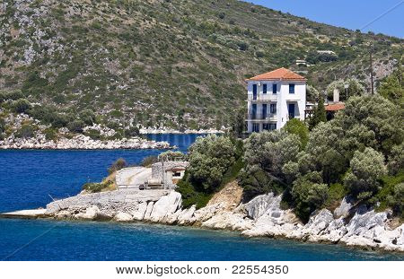 Greek traditional house at Ithaki island of Greece poster