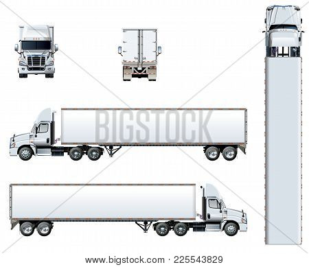 Vector Truck Template Isolated On White. Available Eps-10 Separated By Groups And Layers With Transp