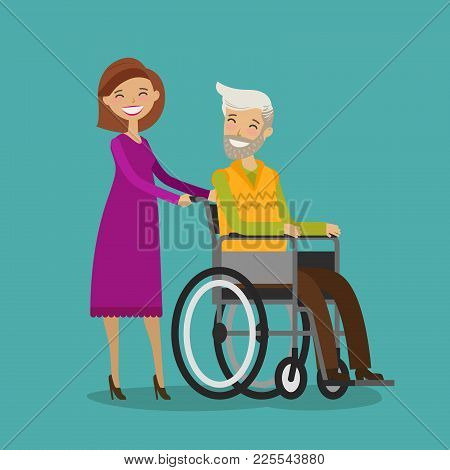 Woman On Walk With Disabled Elderly Man In Wheelchair. Cartoon Vector Illustration