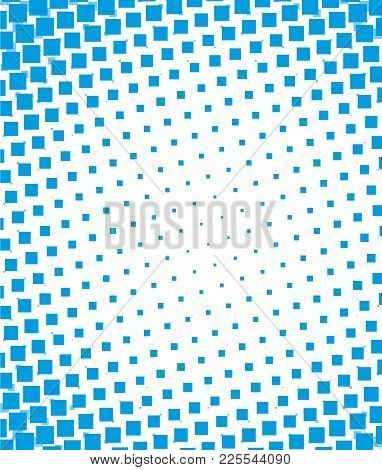 Blue Halftone Dots Pixel Design Marketing Vector Background.