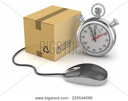 Online Shopping Concept With Stopwatch , This Is A 3d Rendered Computer Generated Image. Isolated On