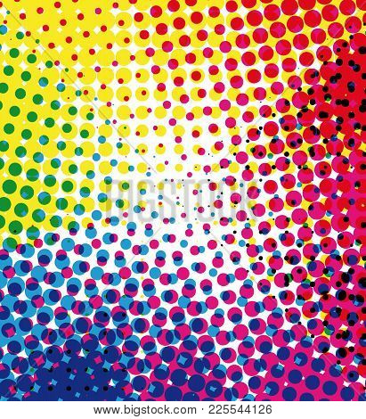 Colorful Halftone Dots Marketing Vector Background With Blank Space. Rainbow Colors.