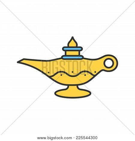 Islamic Oil Lamp Color Icon. Islamic Culture. Magic Lamp. Isolated Vector Illustration