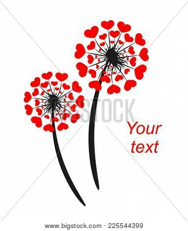 Abstract Dandelion With Hearts