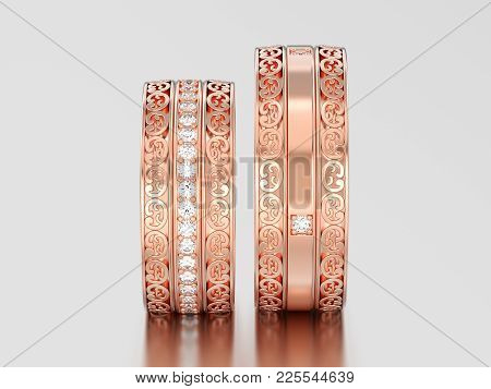 3d Illustration Two Rose Gold Decorative Wedding Bands Carved Out Rings With Ornament On A Gray Back