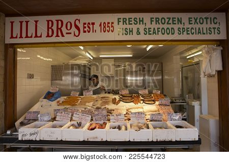 Dewsbury, West Yorkshire, Uk: Town Centre Market Stall Selling Fresh Fish Poultry And Game, 27th Feb