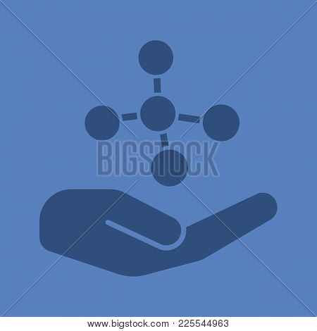 Open Hand With Molecule Glyph Color Icon. Chemical Engineering. Silhouette Symbol. Chemical Contamin