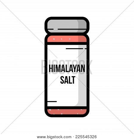Transparent Glass Jar Of Himalayan Salt . Vintage Cartoon Illustration Flat Icon Isolated On White.
