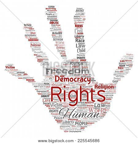Conceptual human rights political freedom, democracy hand print stamp word cloud isolated background. Collage of humanity tolerance, law principles, people justice or discrimination concept
