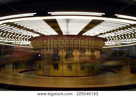 Carousal Merry Go Round Circular Lights Motion Blur Yellow Lights Amusement Fun, Long Exposure