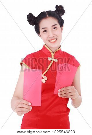 Woman Wearing Cheongsam Or Qipao Giving Red Envelopes In Concept Of Happy Chinese New Year Isolated